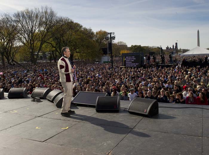 On Stage at the Rally to Restore Sanity And/Or Fear
