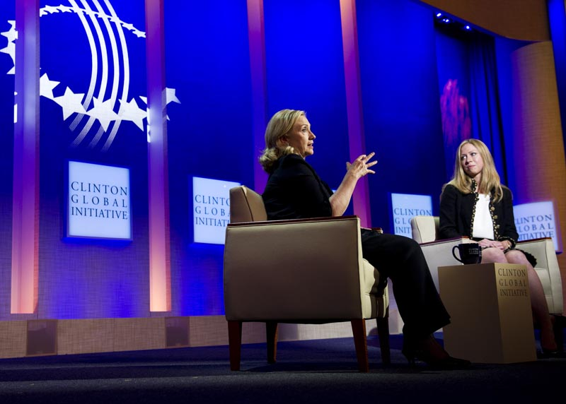 Chelsea Clinton interview her mother, Secretary of State Hillary Rodham Clinton at the annual CGI meeting in New York.
