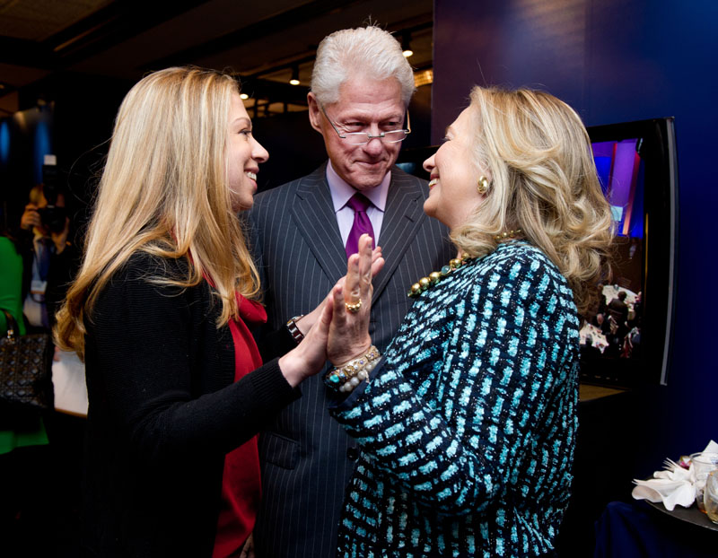 Chelsea Clinton with her parents, former President Bill Clinton and Secretary of State Hillary Clinton, backstage at the Clinton Global Initiative annual meeting in New York on September 24, 2012.