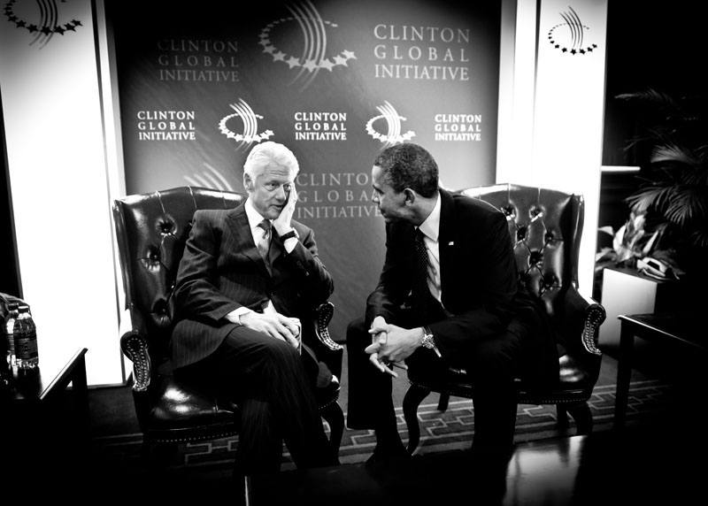 President Clinton and President Obama share a moment backstage at the Clinton Global Initiative Annual Meeting in New York on September 25, 2012.