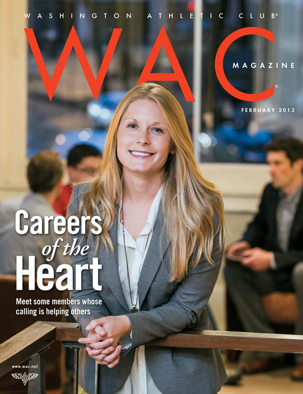 Jamie Van Horne, director of partnerships at SeeYourImpact.org, on the cover the Washington Athletic Club magazine.
