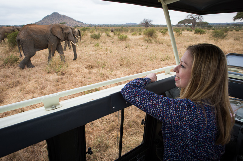 Chelsea Clinton visits the Tarangire National Park in Tanzania, home to more than 300 elephants.