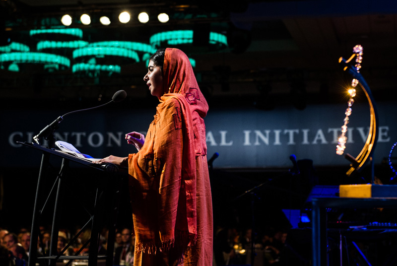 Malala Yousafzai accepting a Clinton Global Citizen Award for her work with promoting girls and education. So inspiring!