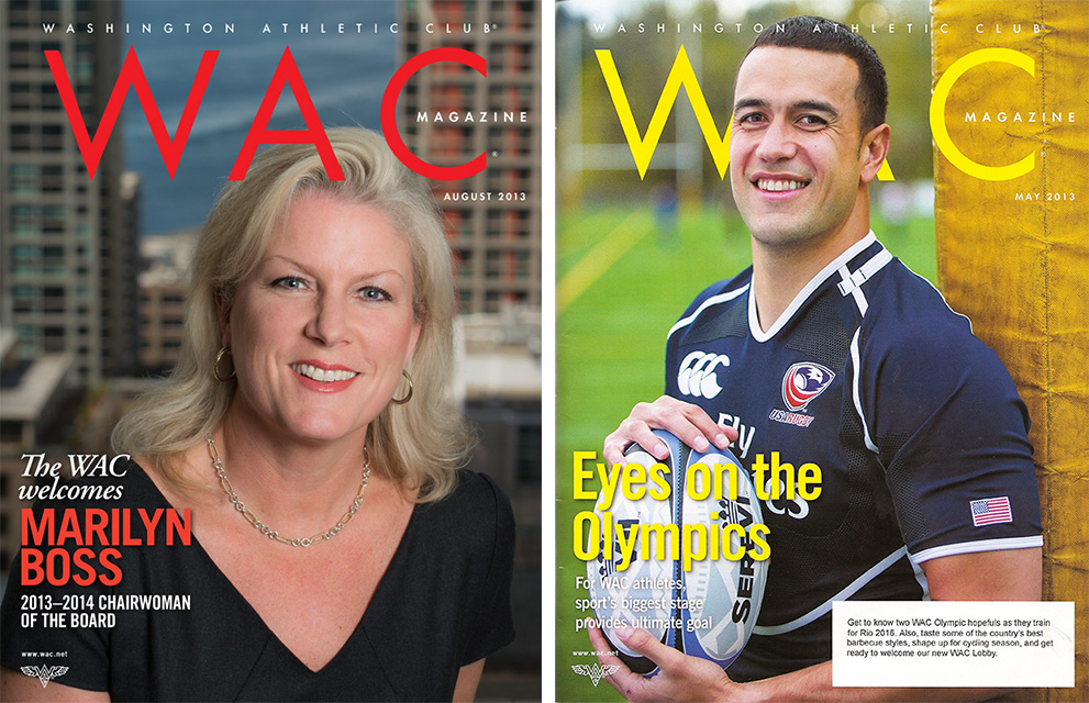Marilyn Boss, new chairwoman of the Washington Athletic Club on the August cover and Mike Palefau, rugby player and member of the WAC, on the May cover.