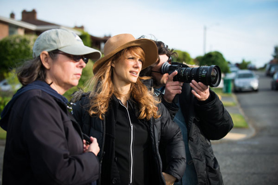 "Seattle-based Director Lynn Shelton on set during the filming of ""Laggies."" To the right of Lynn is director of photography Ben Kasulke."
