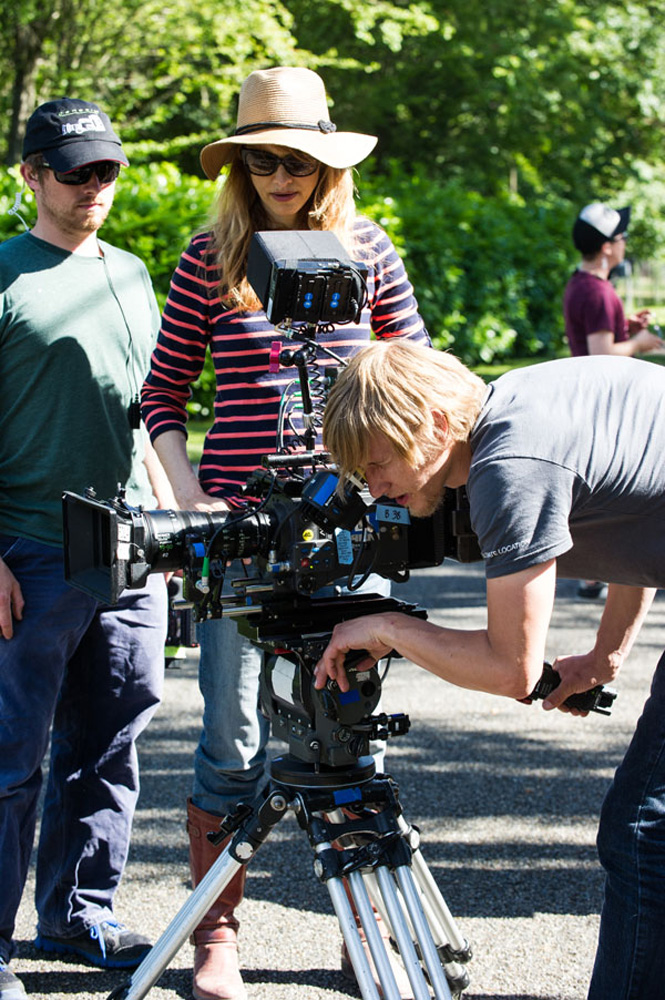 "Director Lynn Shelton on the set of ""Laggies"" with cameraman Jason Knoll."